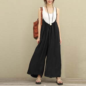 Women Jumpsuit Summer Casual Cotton Linen Playsuits Solid Loose High Waist Suspenders Wide Leg Pants Rompers Elegant Female