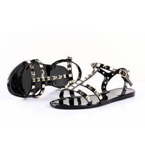 Nouveau 2018 Femme Été Sandales Rivets grand bowknot Tongs Plage Sandalias Femininas Jelly Flat Designers Sandales