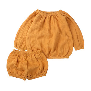Baby Boys Girls Clothes Set Kids Cotton Long Sleeve Tops + Shorts 2pcs Children Outfits Clothing Suit 15040