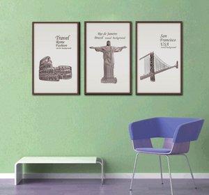 Unframed Travel 미국 영국 프랑스 로마 역사적인 벽 포스터 홈 장식의 잘 알려진 배경