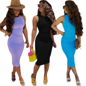 Femmes Vest Robe Solid Sans manches Casual Balway Sexy Drieses Été Skinny Maxi Femelle Robe 050805