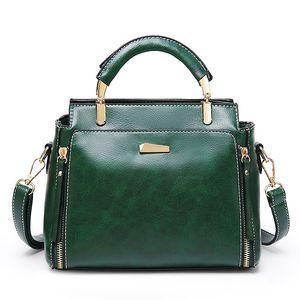 New Fashion Small Handbag for Women Oil Wax PU Leather Messenger bags Lady Tote Tassel Crossbody bag for Womens