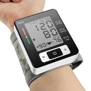 monitor de pressão arterial Inglês Voz braçadeira de pulso Sphygmomanometer sangue Presure medidor monitor de freqüência cardíaca de pulso portátil Tonometer BP
