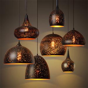 Pendentif Vintage lampe de fer Loft Nordic Retro Porous E27 Eau-forte Abat Bar Restaurant Lampe industrielle vent Rust Lamp