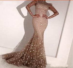 Abendkleider 2020 Элегантный Тюль Жемчужина Русалка Вечерние платья с длинными рукавами Формальное арабское женское платье Vestido De Festa Longo