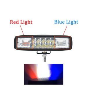 ECAHAYAKU 1pcs 48W 6 pouces Led Avertissement Lumière travail lumière rouge et bleu Strobe Flash lampe pour jeep offroad ATV SUV Camion UTV