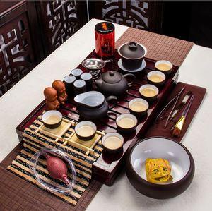 tea set purple sand blue and white porcelain ice split solid wood tea tray washing whole set of kung fu tea set