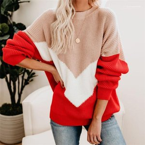 Sleeve Hit Color Crew Neck Pullover Female Clothing Winter Casual Apparel Womens Autumm Designer Fashion Sweaters Long