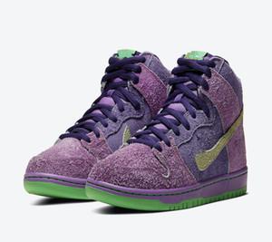 2020 SB Dunk High 420 Violet Skunk Strawberry Cough Chaussures enfants Skateboard à vendre Hommes Femmes Chaussures de sport Livraison gratuite Taille 36-45