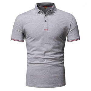 Designer Polos Summer Short Sleeve Lapel Neck Solid Color Business Tshirt Male Clothing Mens 2020 Luxury
