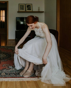 Halter Neck Lace Backless Sexy Wedding Dresses 2020 A Line Tulle Vestidos De Novia Cheap Bride Party Formal Gowns