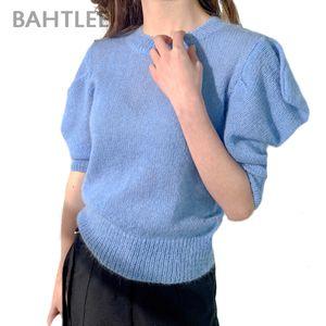 BAHTLEE Donna primavera estate Mohair Pullover O-collo del maglione mezzo farfalla maniche di lana a maglia ponticello allentato Stile
