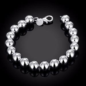 La joyería 925 de plata pura de Buda granos plateados sólidos encanto 10m / bolas huecas pulseras brazalete bolsa de regalo H136