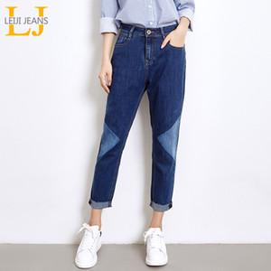 2018 LEIJIJEANS Nouveau Arrivée Printemps Taille Plus Mode dégradé de couleur Blanchi mi taille longueur cheville Casual Femmes Harem Jeans