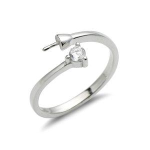 Projeto simples anel Apreciação Jóias Zircon prata esterlina 925 Pearls DIY fazer anel de Mount 5 Pieces