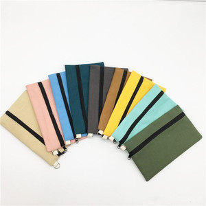 Coloful blank canvas zipper Pencil cases pen pouches cotton cosmetic Bags makeup bags Mobile phone clutch bag organizer