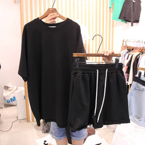 Women's Leisure Sports Suit Summer Loose Short-sleeved T-shirt Wide-legged Shorts Two-piece Suit Morning Running Sports