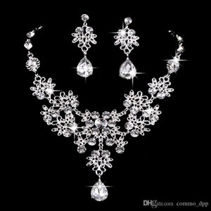 6 colors women Bling Crystal Bridal Jewelry Set silver diamond Wedding statement necklace Dangle Earrings for bride Bridesmaids Accessories