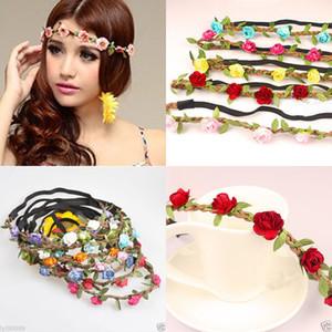 Cabeza de flor rosa joyería de la cadena de desgaste elástico hueco de pelo Coronas de boda de la manera Guirnaldas Guirnaldas