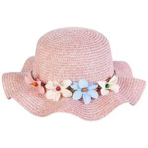 Новые летние Детские соломы Sun Hat цветок дышащий Детские шапки Мальчик девушки шапки Марка малышей Принцесса цветочные Ruffle пилотка