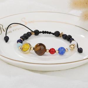 2020 New Universe Galaxy Planets Star Natural Stone Bead Bracelets Solar System Adjustable Handmade Braided Bracelet For Women Men