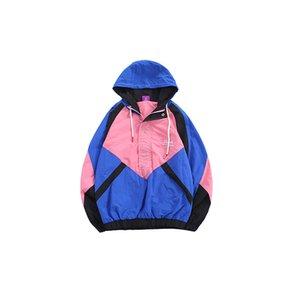 HFNF 2019 Moda Sonbahar yeni trend hip hop dikiş renk gevşek kapüşonlu kazak ceket ceket erkekler