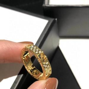 Neuer einfacher Brief G voller Diamanten Designer Ring Luxuxfrau wilde Modedesigner Ring