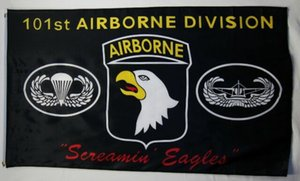 101st Airborne Division Screamin Eagles bandiera nera 3x5ft Stampa Poliestere Decorazione bandiera con occhielli in ottone Spedizione Gratuita
