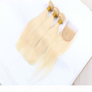 8A Malaysian Straight Hair #613 Blonde 3Bundles With Lace Closure 4Pcs Lot Honey Blonde Human Hair Weaves With 4*4 Top Closure