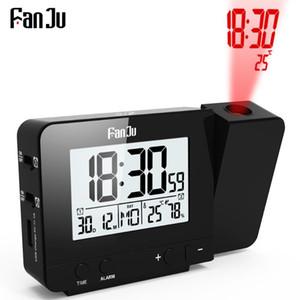 FanJu FJ3531B Relógio de Projeção Posto de mesa Snooze Led Digital Relógio Backlight Relógio Projetor Com tempo de projeção de temperatura