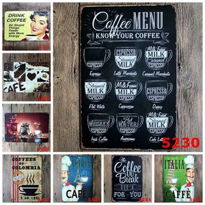 38 Styles Retro Coffee Tin Sign Vintage Metal Psoters Iron Painting Wall Decor For Kitchen Coffee Bar Cafe