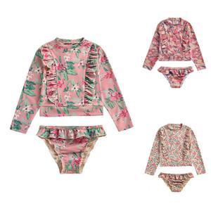 Bebek Kız Mayo Seti 2 adet UV Sun Flower Baskılı Gömlek + Kısa Swim mayo 3 Renkler koruyun