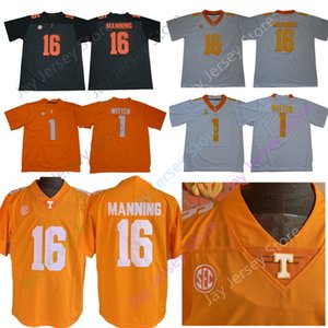 NCAA Теннесси Добровольцы футбол Джерси Колледж 1 Джейсон Виттена 16 Peyton Manning Home Away Оранжевый Белый Мужчины Размер S-3XL