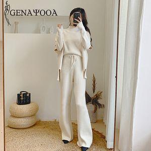 Genayooa Strick 2 Stück Sweater Pants Set Frau 2019 Knitting Wide Leg Hose und Pullover Causal Strickzweiteilige Anzüge 2019