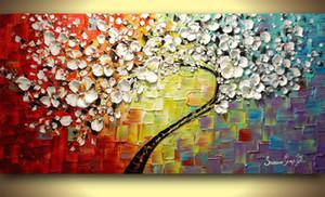Abstrato colorido Cherry Blossom Canvas Pintura textura Modern Wall Art Sala Tapeçaria Imagem decorativa pintada à mão