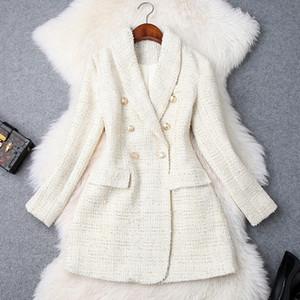 Pista 2019 del diseñador del botón de doble botonadura de metal de la chaqueta de las mujeres de manga larga chaqueta de cuello con muesca de lana Escudo Mezclas Tweed Blazer