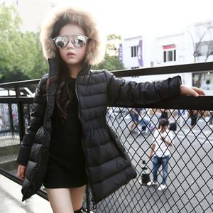 2019 children girls length Short skirt down jacket fur collar in the big hooded tutu skirt children's down jacket
