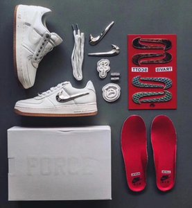 Nike Air Force 1 Low Travis Scott Slipper Mens Designer Slides Shoes Sandals AF1 3M AQ4211-100 Basket Fashion Trainers HOmmes Femme Womens Board Shoes Sneakers Running Canvas Shoes