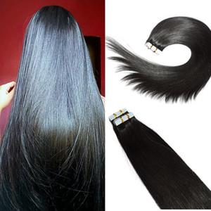 인간의 머리카락 연장에 테이프 # 1B 자연 색상 레미 인간의 머리카락 확장 실크 스트레이트 100g 40pcs