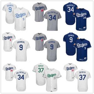 Personalizado Homens Mulheres Dodgers Juventude Jersey # 9 Yasmani Grandal 34 Fernando Valenzuela 37 Brandon Beachy Início Azul Cinzento Branco Baseball Jersey