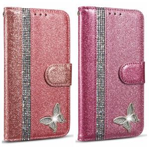 Diamond Sparkle Cartera de cuero para Iphone 11 XS MAX XR X 8 7 del brillo de Bling brillante Teléfono desplegable sostenedor de la cubierta de la mariposa magnética de lujo