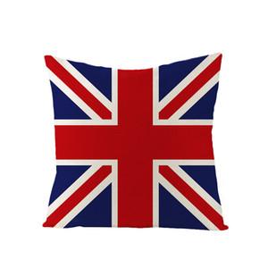 Einseitiger Druck British Wind Pillowcase Heimschlafsofa Dekor Kissenbezug Britische Flagge Quadrat Baumwollleinen Büro Pillowcase DH1407 T03