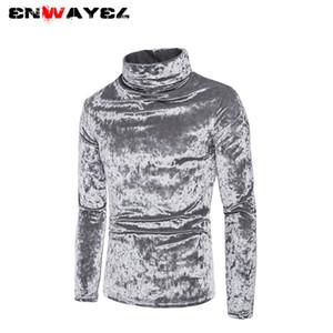 ENWAYEL 2019 Осень Зима новая шелковистая сплошной цвет коралловые флис кофты мода дизайн водолазка мужской пуловер WY52