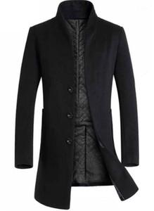 Wolljacken Mode schlanke Einreiher Herren Midi Wollmäntel Lässige Männer Kleidung Panelled Herren Designer