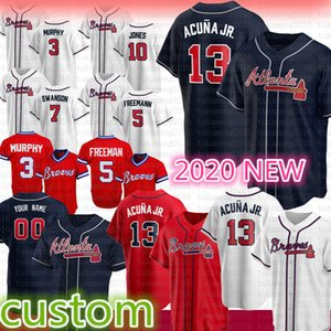 13 Ronald Acuna Jr. 2020 Atlanta Baseball Jersey Freddie Freeman Dale Murphy Chipper Jones Dansby Swanson Austin Riley Smoltz Albies Aaron