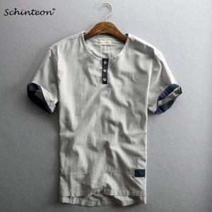 2019 Schinteon Men Casual Cotton Linen Shirt Pullover Summer Thin Short Sleeve O-Neck Collar Cómodo nuevo estilo chino