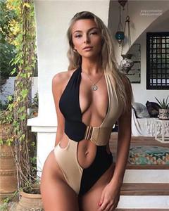 Macacões ocasionais das mulheres Ternos Vestuário Womens Verão Leopard V Neck Bikini Sexy Moda banho One Piece