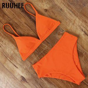 RUUHEE 2020 Bikini Swimwear Swimsuit Women Solid Bathing Suit Green Neno Bikini Set With Pad Female High Waist Beachwear Biquini CX200608