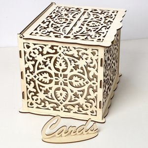Tarjeta de madera de la caja DIY para la recepción de la boda la tarjeta de la caja de almacenaje con llave