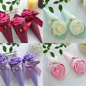 Paper Cone Shape Candy box chocolate container favor holder boxes with Rose Flowers Bowknot Diamond 50pcs lot free shipping wholesales LX232